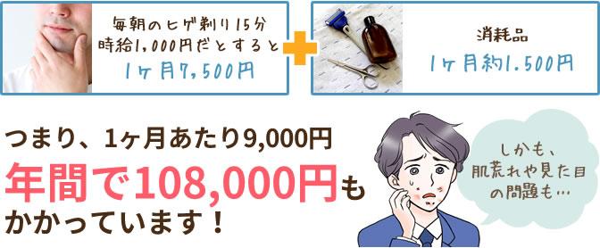 脱毛する前のコストは年間108,000円