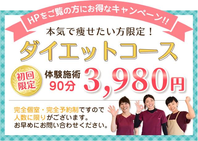 ダイエットコース初回お試し体験3,980円